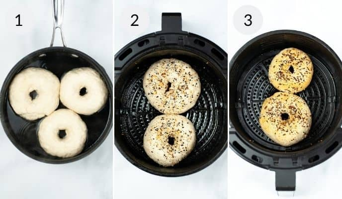 Uncooked bagels in air fryer, bagels topped with seasoning and the final cooked bagels.