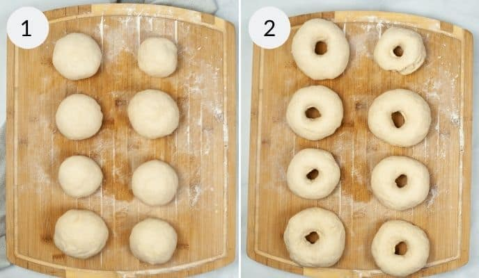 Balls of dough rolled out on a cutting board and then the finished shaped bagels.