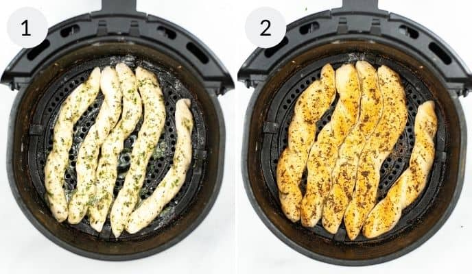 Uncooked breadsticks in air fryer and cooked breadsticks in the air fryer