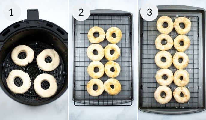 finished donuts in the air fruer, tray of donuts before and after glazing.