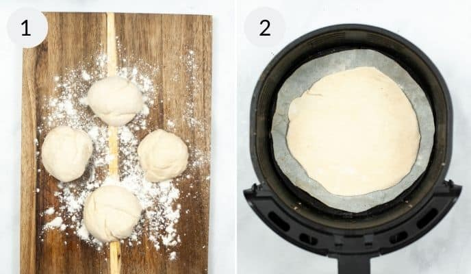 Dough rolled out in the airfryer and dough on a wooden cutting board