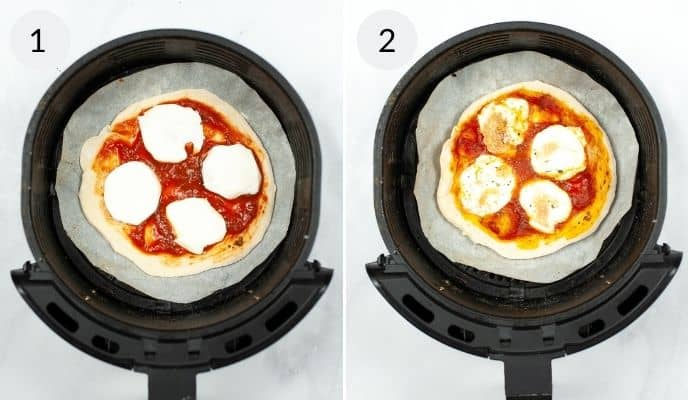 Completed pizza ready to cook and finished pizza in air fryer
