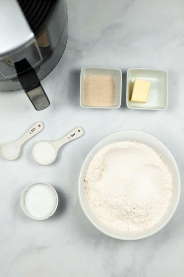 Air Fryer with flour, butter, salt , yeast, etc.