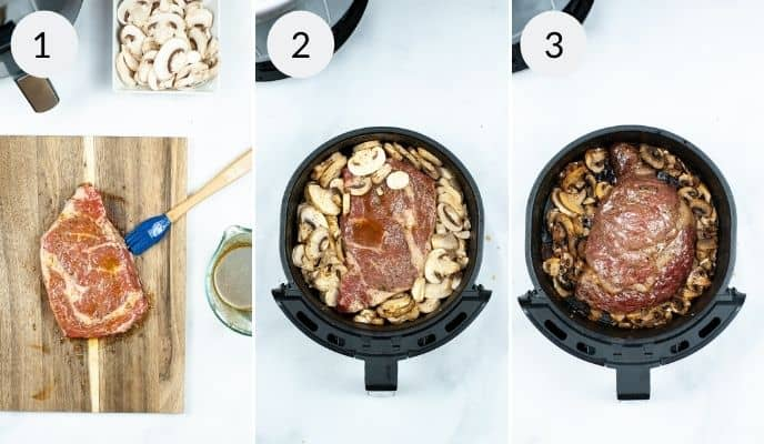 Steak being prepared for air fryer and then the ingredients being prepared in the air fryer and the final cooked steak in the air fryer
