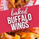 top shot of basket of baked wings and a close up on the wings