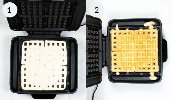 A waffle iron with the raw mix and a photo of the same waffle iron with the completed, cooked waffle.