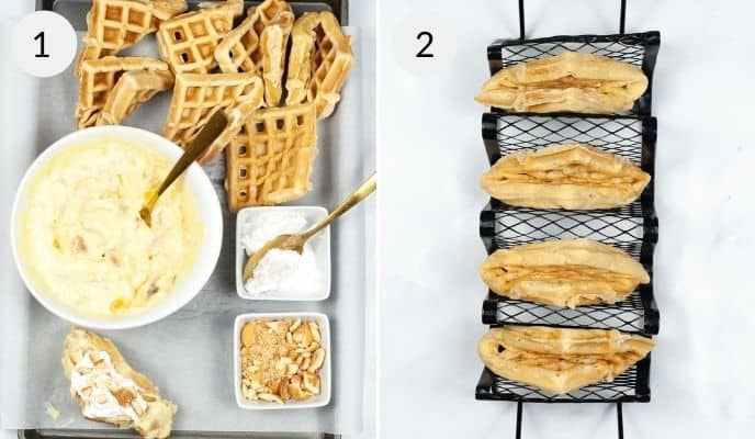 Finished waffles in a taco stand and  tray of all the fillings and toppings for the banana pudding tacos.