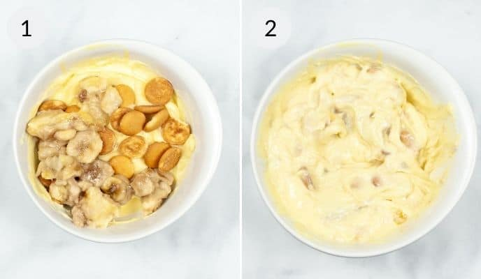 Banana pudding with vanilla wafflers on top and then the same bowl with ingredients mixed through it.