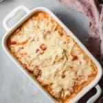 hicken Spaghetti Casserole in a white baking dish