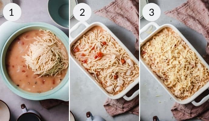 Chicken added to sauce in turquoise bowl, white dish with spaghetti and finished product of chicken spaghetti casserole