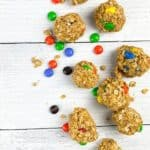 Chocolate Pean Nut butter protein balls on a white board