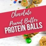 finished protein balls on a white board and a close up on ball.