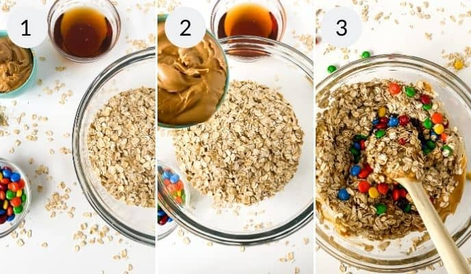 Raw ingredients, adding peanut butter to oats and mixing ingredients