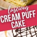 close up and shot of a whole cream puff cake