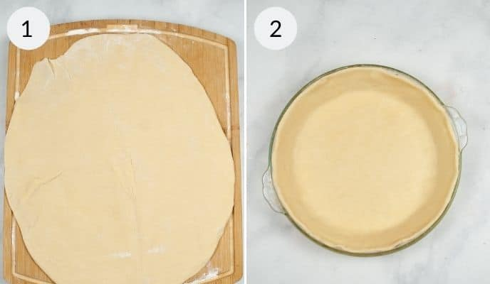 Crisco pie crust rolled out on a cutting board, and dough in a pie dish.