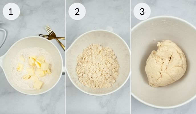 Ingredients for crust before mixing, the dough at the crumb stage and then the final dough all in white bowls