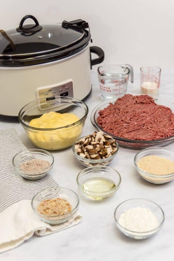 Ingredients like beef, seasoning mushrooms etc
