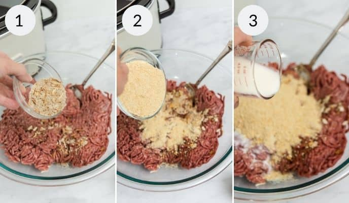 Making the steak burger by adding the ingredients to the beef
