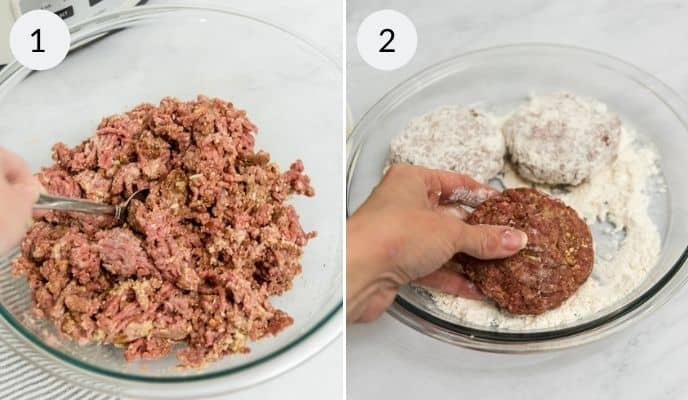 Finished meat mixture for salisbury steak and patties dipped in flour.