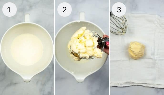 Measured out cream, butter after made and finished product