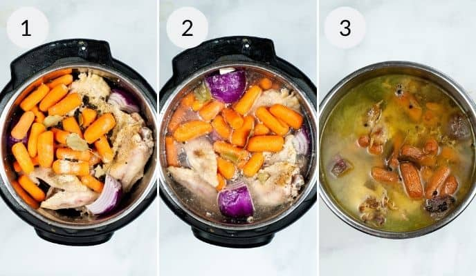 Instant pot with various stages of cooking.