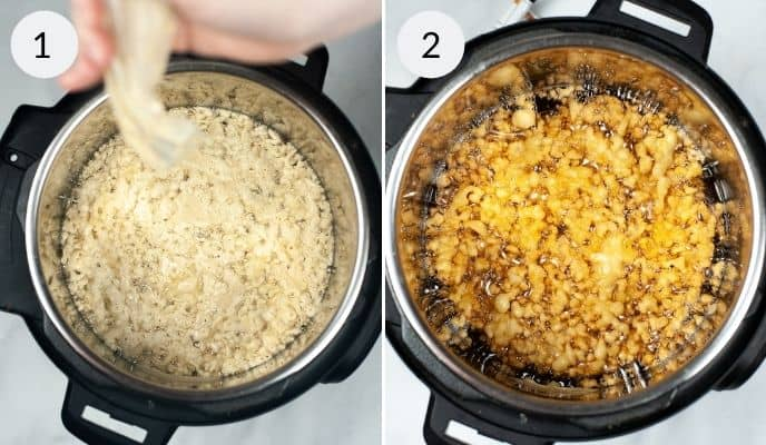 Batter being poured into the Instant Pot and a picture of a cooked funnel cake.