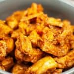 Close up from the top of the orange chicken in the instant pot
