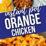 close up of orange chicken and a top shot of the orange chicken surrounded by oranges