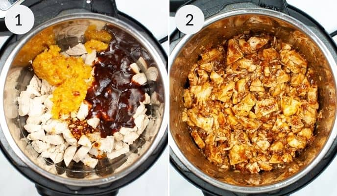 All the ingredients in the instant pot for the orange marmalade chicken in the instant pot and the completed dish in the instant pot
