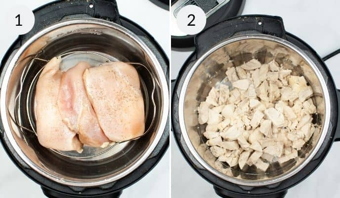 Chicken raw in instant pot and competed chicken in the next photo