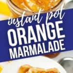 Top of Orange Marmalade in jar and toast with marmalade