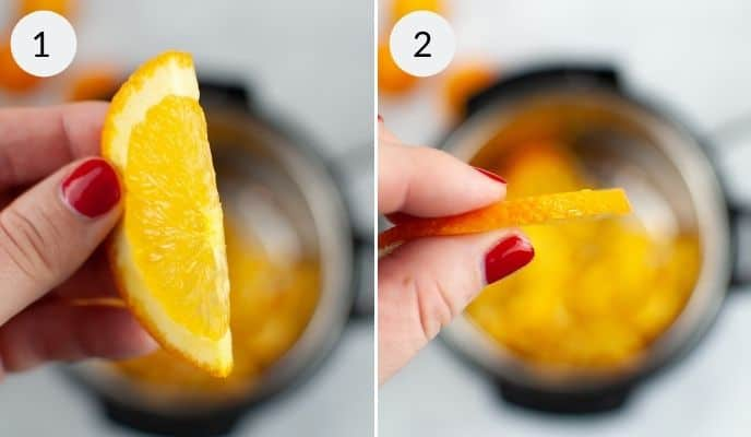 Orange slices in hand and in instant pot