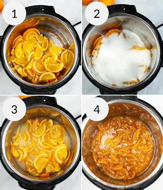 Oranges in Instant Pot, sugar onto of oranges, cooked oranges and final jam