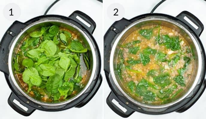 Adding spinach and final soup