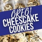 Oreo cheesecake cookies on a cooking rack and stack of cookies