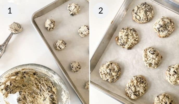 Oreo Cheesecake cookies rolled out on sheet pans