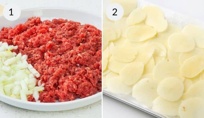 Potatoes, filing and meat for Pasty