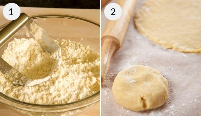 Making the filling is image 1 and rolling out dough is image 2.