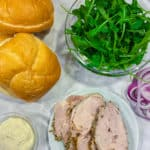 Rolls, lettuce, porchetta red onions and aioil