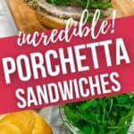 A porchetta sandwich and a close up on the ingredients needed to make sandwich