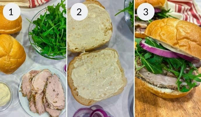 Picture of lettuce, rolls and porchetta, an open bun and the finished sandwich