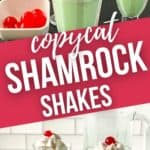 Close up on the shamrock shake with cherries and a side view of two shakes