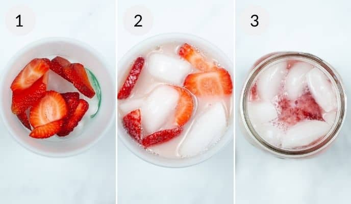 Strawberries, ingredients in a cup and final pink drink mixture.