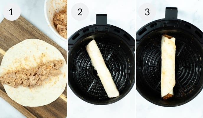 Taquitos before wrapped after wrapped in air fryer and completed taquito in air fryer.