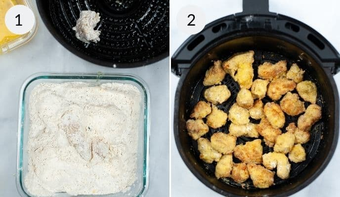Uncooked chicken being placed into an airfryer basket and the finished chicken in the basket as well.
