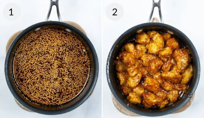 Sauce being created in a frying pan and with finished product with chicken added.