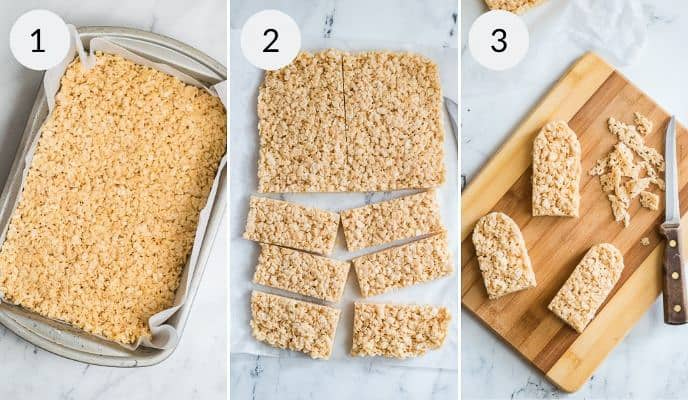 Picture of the formed rice krispie treats and then the forming of the pops and the sticks being placed in them.