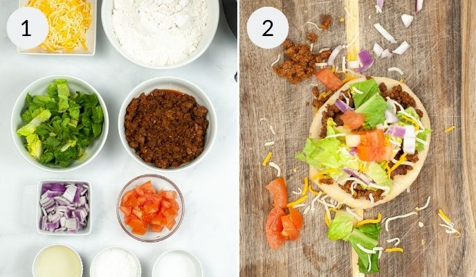 Ingredients need to assemble tacos and finished taco.