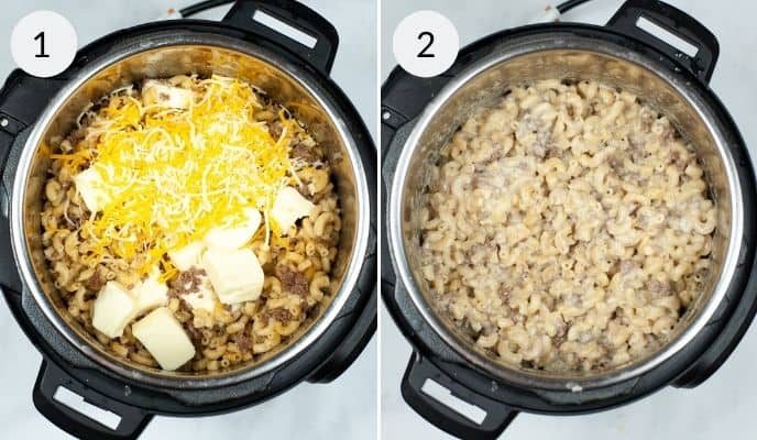 Instant pot with ingredients before and after cooking.