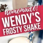 Close up of top of frosty and side view of a homemade wendys frosty.